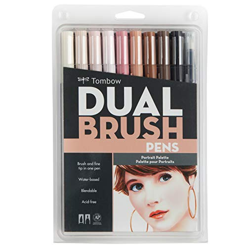 Tombow Dual Brush Pen Art Markers, Portrait, 6-Pack
