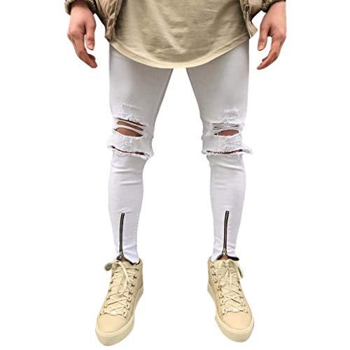 Bianca Casual Fashion Streetwear Da Giovane Pantaloni Hip Saoye Aderenti Stretch Strappati Moto Jeans Hop Vintage Uomo UnSw6x