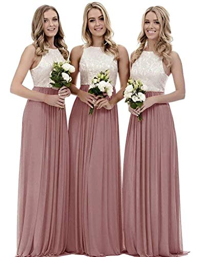 Lace Bridesmaid Dresses Long Chiffon a-line Evening Wedding Party Gown for Womens Dusty Rose 16