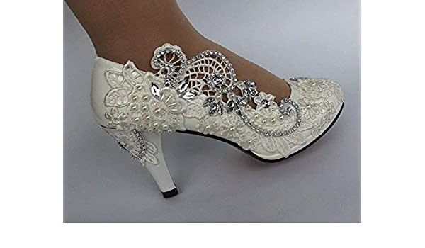 d3ac069fc7 Amazon.com: 8cm white lace wedding shoes 8cm high heels shoes white ...