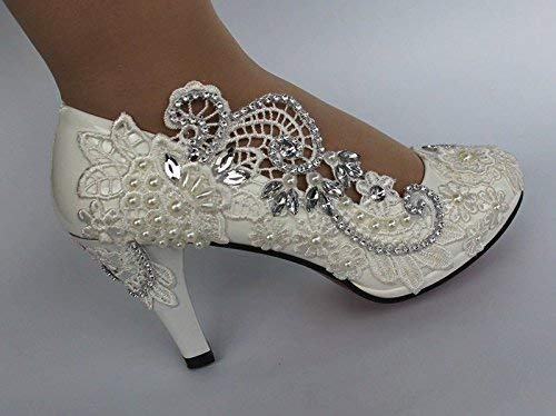 Lace Wedding Shoes.Amazon Com 8cm White Lace Wedding Shoes 8cm High Heels Shoes White