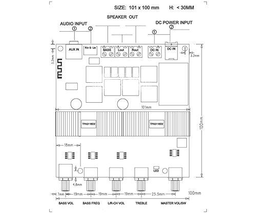 AOSHIKE DC12V-24V 2 1 Channel TPA3116 Subwoofer Amplifier