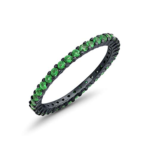 - Blue Apple Co. Full Eternity Stackable Wedding Band Ring Black Tone Simulated Green Emerald Cubic Zirconia 925 Sterling Silver Size-6