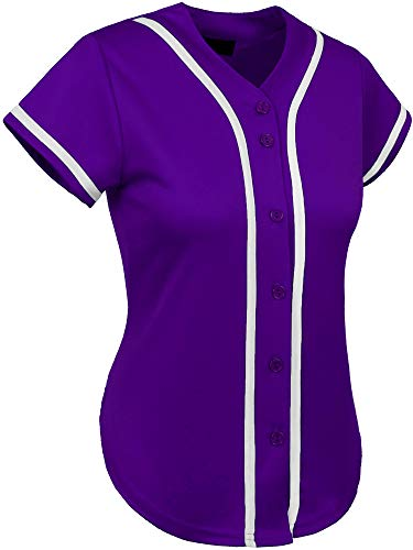 Purple Baseball Shorts - Hat and Beyond Womens Baseball Button Down Athletic Tee Short Sleeve Softball Jersey Active Plain Sport T Shirt (2X-Large, 3up01 Purple/White)