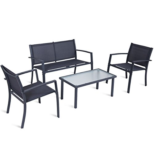 4 PCS. Patio Furniture Set Tempered Glass Table Loveseat Chairs Steel Indoor Outdoor (Century Wrought Patio Furniture Iron Mid)