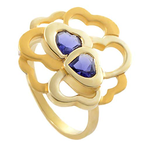 Carrera y Carrera Womens 18K Yellow Gold Iolite Hearts Cluster Ring