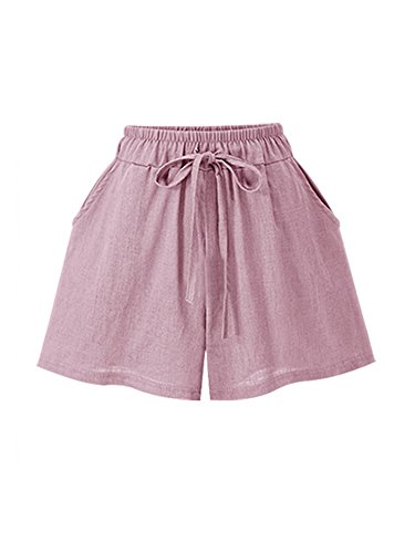 Gooket Women's Elastic Waist Cotton Linen A Line Wide Leg Summer Hot Shorts with Drawstring Pink Tag L-US (Juniors Drawstring Bermuda Shorts)