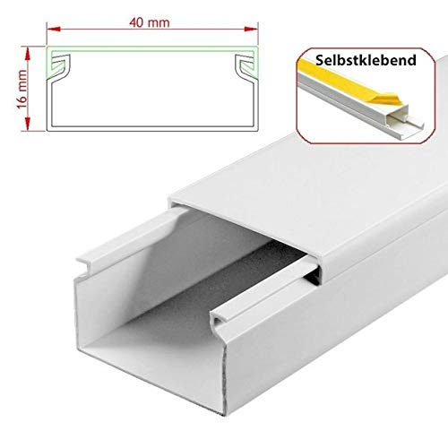StilBest® 90m Kabelkanal [L x B x H 200x4,0x1,6 cm, PVC, Selbstklebend, weiß] Kabeldurchführungssystem   Kabelleiste   Kabelschlauch   Kabelrohr B07PMDT5FG | Hohe Qualität und Wirtschaftlichkeit