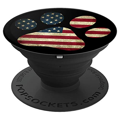 Patriotic American Flag Dog Paw - Vintage Distressed - PopSockets Grip and Stand for Phones and Tablets