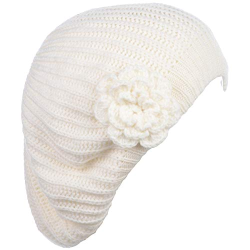 BYOS Ladies Winter Solid Chic Slouchy Ribbed Crochet Knit Beret Beanie Hat W/WO Flower Adornment, Soft Touch (Ivory Flower)