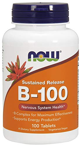 NOW Supplements, Vitamin B-100, Sustained Release, Energy Production*, Nervous System Health*, 100 Tablets