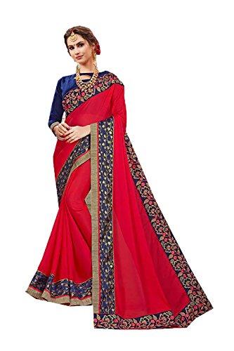 Da Facioun Saris Indiens Pour Les Femmes Concepteur Mariage Partie Portent Sari Rouge Traditionnel.