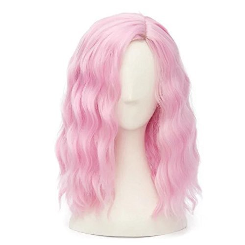 [Mid Length Wavy Fashion Aqua Lolita Girls Cosplay Wig Plus Cap, Pink] (Wigs Pink)