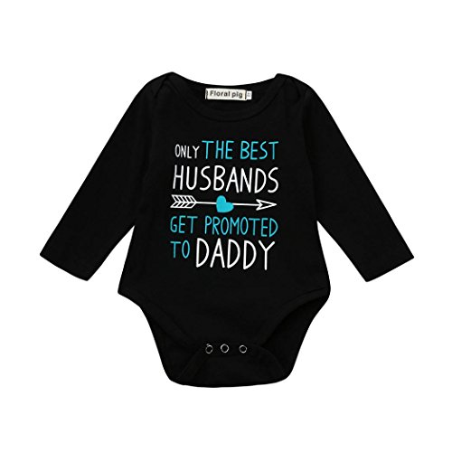 Clearance!Baby Jumpsuit,Bokeley Newborn Baby Boys Girls Toddler Only the Best Husbands Get Promoted to Daddy Letter Arrow Print Romper Jumpsuit Outfits Clothes (3M, (Daddy Arrow)