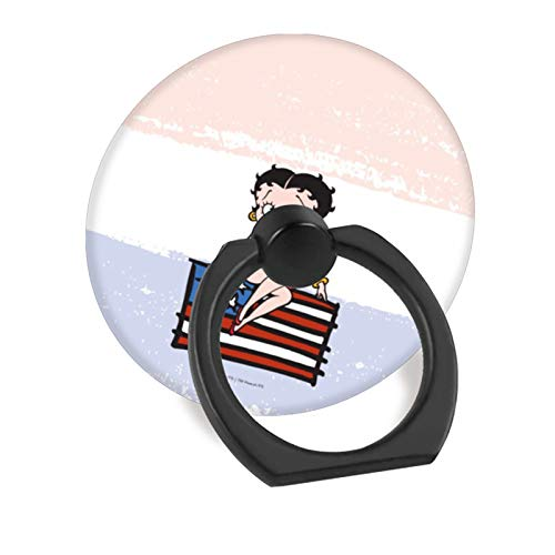 (Cell Phone Finger Ring Holder Stand Car Mount Works for iPhone 5 6 7 8 X Plus Samsung Galaxy S8 S9 Ipad-Americana Betty boop Sitting on American Flag )