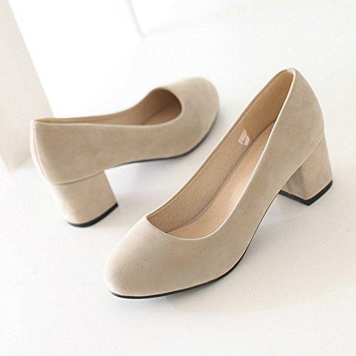 Cordones Baja Boca Alto sin COOLCEPT Bombas Zapatos Fiesta Albaricoque Zapatos Mujer Tacon Ancho Zapatos Moda qnRxXt