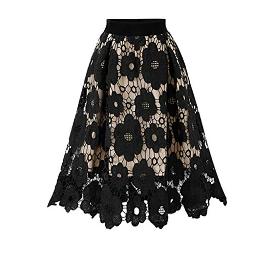 Bokeley Dress Womens Crotch Lace Skirt Ladies Soft Stretch Flared Printed Skater Skirt (Free Size, Black)
