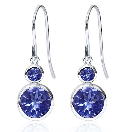 1.88 Ct Round Blue Tanzanite AAA Blue Tanzanite 925 Sterling Silver Earrings