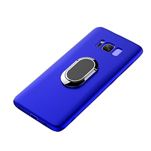 Galaxy S8 Plus Case, WATACHE Slimmest Magnetic 360 Degree Rotating Ring Holder Premium TPU Shockproof Protective Case Cover for Samsung Galaxy S8 Plus (6.2) (Blue)