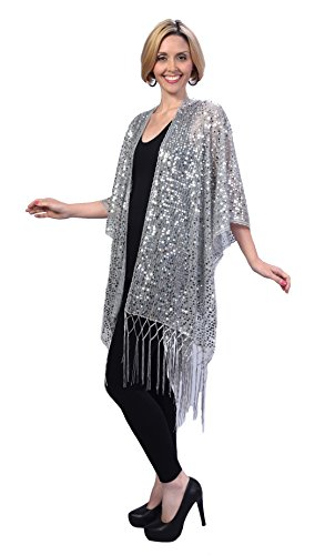 Womens Mother Of The Bride Beaded Fashion Shawl Tunic Poncho Cover up Top (Silver)