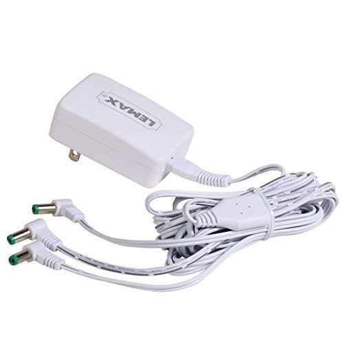 Lemax 94563 Switching Mode 3-Output Power Adapter, New 2019 Fixed US Plug V.2, White, 4.5V, 1000mA, Input 100-240V, Use…