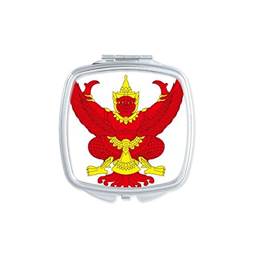 Kingdom of Thailand Thai Traditional Customs Culture Myth God Garuda Statue Art Illustration Square Compact Makeup Pocket Mirror Portable Cute Small Hand Mirrors by DIYthinker