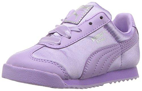 (PUMA Unisex Roma Satin Sneaker, Purple Rose Silver, 6.5 M US Big Kid)