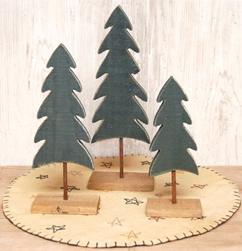 Green Wood Trees Pine Cutout Distressed Finish Country Primitive Christmas Holiday Décor