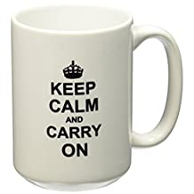 3dRose Keep Calm and Carry on - Black Text on White - with Crown - Motivational Fun Reminder Funny Humor - Ceramic Mug, 15-Ounce (mug_157686_2)