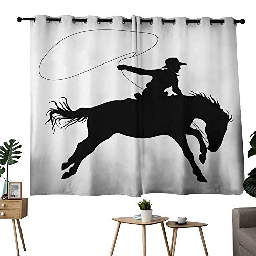 NUOMANAN Light Blocking Curtains Cartoon,Silhouette of Cowboy Riding Horse Rider Rope Sport Country Western Style Art,Black and White,Darkening Grommet Window Curtain-Set of 2 42