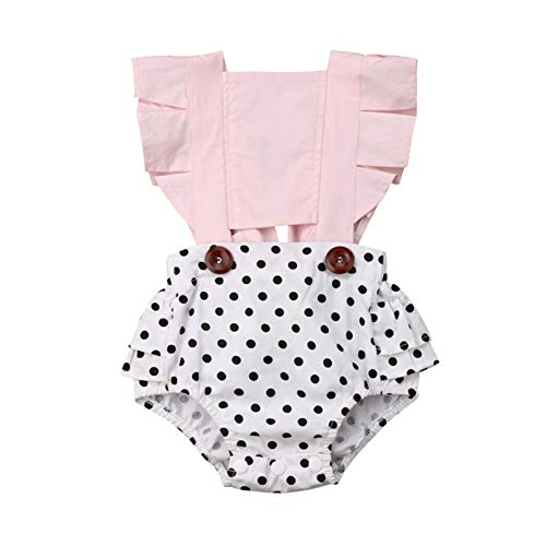 Toddler Infant Baby Girls Ruffles Backless Romper Bodysuits Polka Dot Floral Outfit Pink