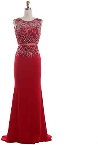 3054adb15a9 Dexinyuan Women s Beaded Long Mermaid Evening Gowns High Collar Prom Dresses