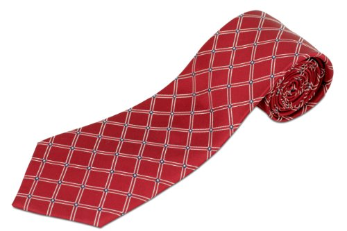 Diamond Patterned Silk Tie - 100% Silk Red Diamond Patterned Men's Extra Long Tie (70