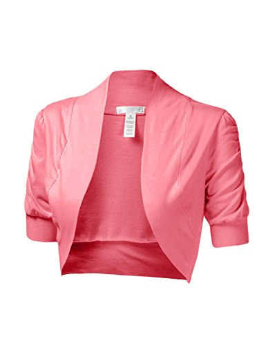 makeitmint Women's Comfy Cropped Short Sleeve Bolero Cardigan Shrug [S-3XL] Small YJCS0002_02Pink Pink Shrug