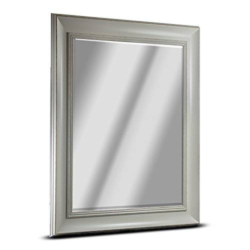 Camden Large Rectangle Antiqued Framed Beveled Wall Bathroom Vanity Mirror - White (35