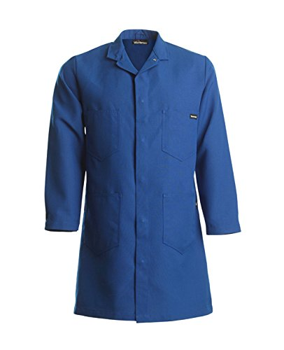 Workrite Uniform 352NX60RBLG 0R 4-Pocket Flame-Resistant Lab Coat, Large Size, 6 oz. Nomex IIIA Fabric, Royal Blue ()