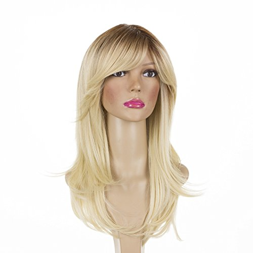 Long Straight Rooted Bleach Blonde Layered Thick Glamour