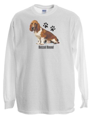(Express Yourself Adult Unisex Basset Hound Long Sleeve T-Shirt (White - XL))