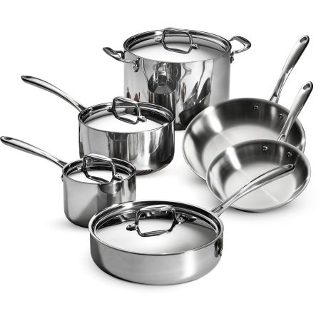 Tramontina 80116/566DS Stainless Steel Tri-Ply Clad Cookware Set, 10-Piece, Made in China