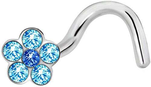 Forbidden Body Jewelry 18g Surgical Steel Aqua Blue Gemmed Flower Top Nose Screw ()