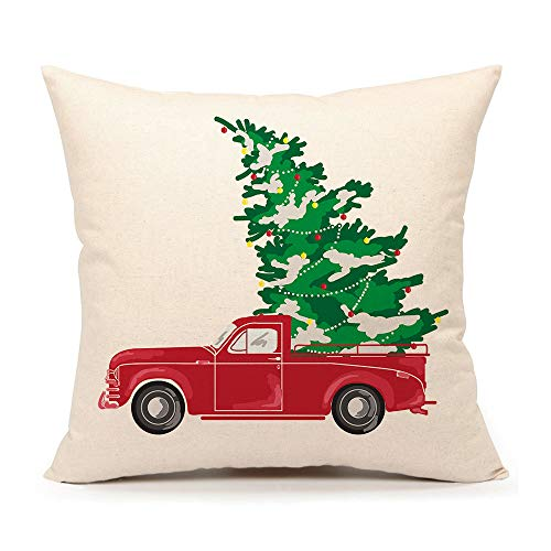 4TH Emotion Red Truck with Christmas Tree Vintage Home Decorations Throw Pillow Case Cushion Cover 18 x 18 Inch Cotton Linen