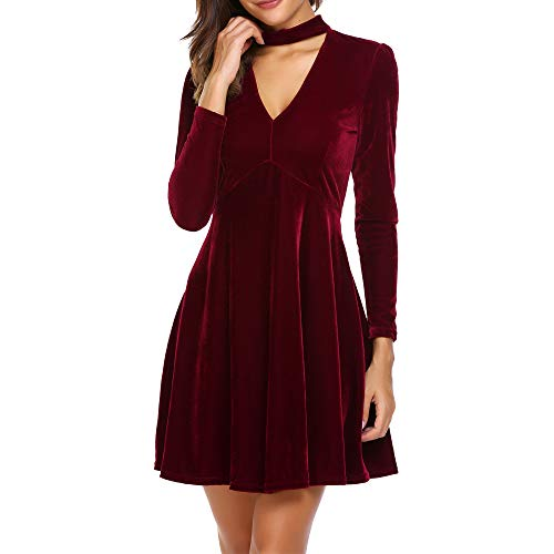 Dizzlle Womens Fall Velvet Plunge Party Dresses Flare