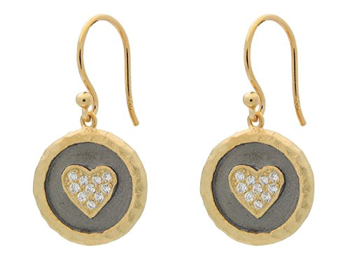 Earrings Vermeil Disc (Hammered Vermeil Silver Heart Disc Hook Earrings, 1.19
