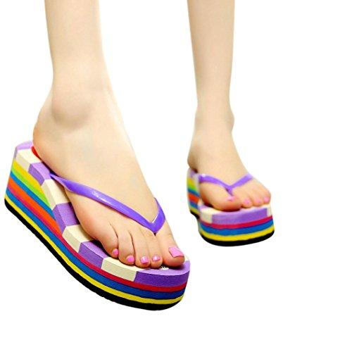 Ama (tm) Kvinnor Kil Klipp Tå Flip Flops Nasan Loafers Stranden Skor Lila