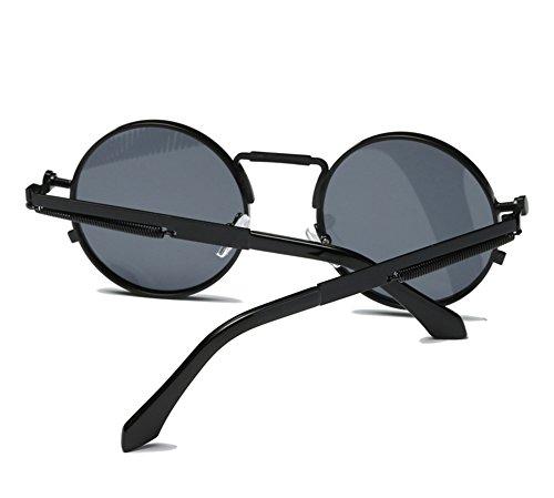 de de redondo gafas no marco de sol Marco retro polarizado de Spring metal de Gris Negro hippie Metal qFHnBE