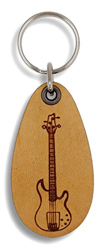 ForLeatherMore - Bass Guitar - Genuine Leather Keychain - Music - Bass Keychain