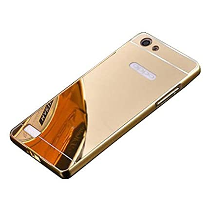 low priced f996f f6cf7 IND COVER Metal Bumper Acrylic Mirror Back Cover for Oppo Neo 7(Gold) - A33F