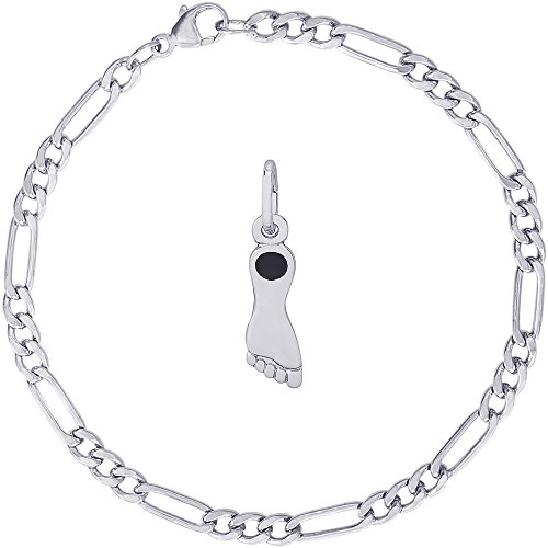 - Rembrandt Charms Sterling Silver Tar Heel North Carolina Charm on a Classic Figaro Bracelet, 8