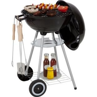 Square BBQ and 5 Piece Starter Pack, Constructed from steel. Overall size H73, W44, D44cm. Diameter 44cm. Size of cooking area 41 x 41cm. Includes utensils and BBQ cover. Weight 10.9kg. Packed flat.