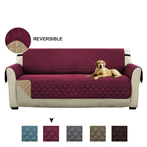 Quilted Quick Drape Reversible Furniture Cover/Prevent Stains for 3 Seats Sofa with Elastic Straps, 75 inch X 110 inch (Sofa - Burgundy/Tan)